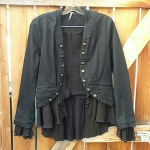 Free People black jacket with frills size small